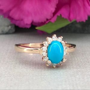 Oval blue turquoise rose gold sterling silver ring